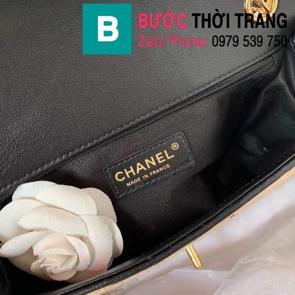 Túi đeo chéo Chanel siêu cấp mẫu mới  da bê màu đen size 26cm - AS2419