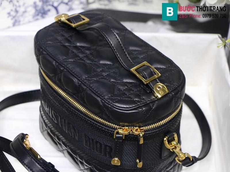 Túi xách Dior Travel vanity case siêu cấp đen cừu màu đen size 18.5cm