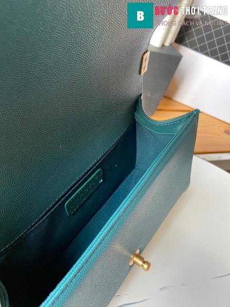 Túi xách Chanel boy siêu cấp vân v màu xanh lá size 25 cm - A67086