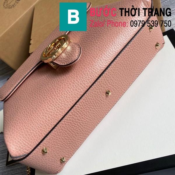 Túi xách Gucci Interlocking Leather Chain Crossbody Bag siêu cấp màu hồng size 25cm - 510302