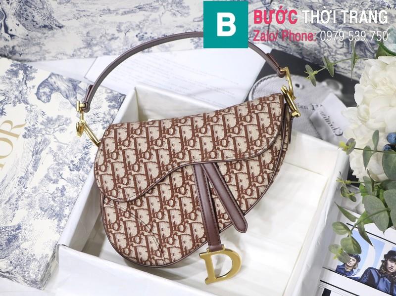 Túi xách Dior Saddle Bag {túi yên ngựa} siêu cấp vải canvas màu nâu size 25.5 cm
