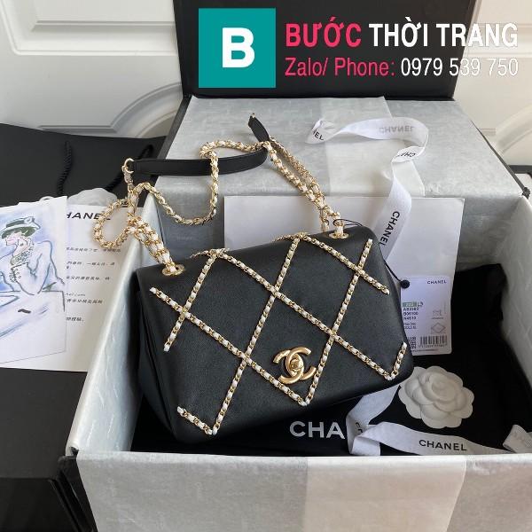 Túi xách Chanel Flap Bag siêu cấp da cừu màu đen size 22cm - AS2383