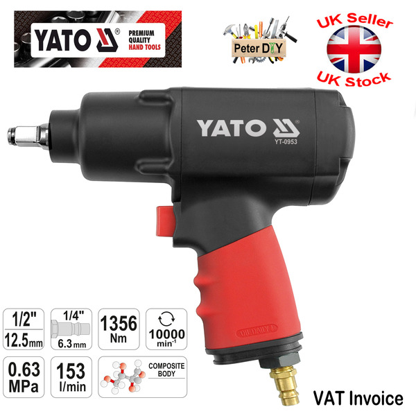 """AIR IMPACT WRENCH 1356 Nm 1/2"""" YATO Professional Heavy Duty YT"""