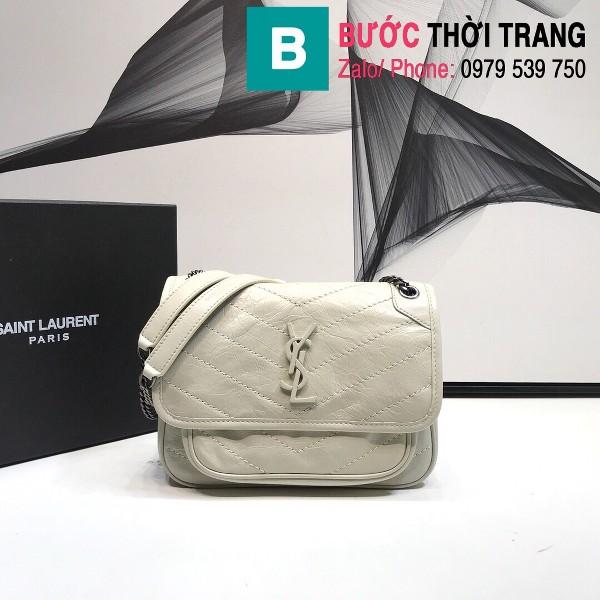 Túi xách YSL Niki siêu cấp da cừu nguyên bản màu trắng size 22cm - 533037