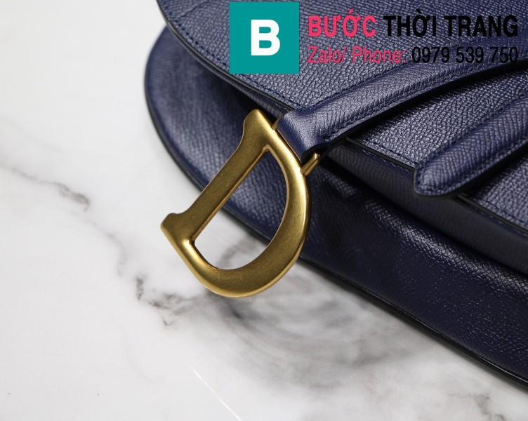 Túi xách Dior Saddle Bag siêu cấp chất liệu da bê màu xanh tím than size 25.5cm