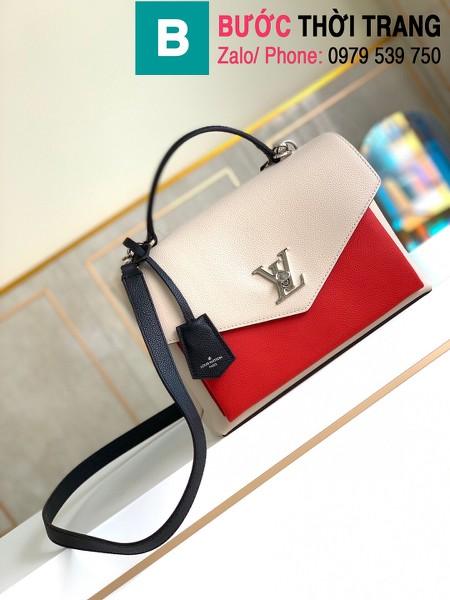 Túi xách Louis Vuitton Mylockme siêu cấp da bê màu trắng đỏ size 28 cm - M53891