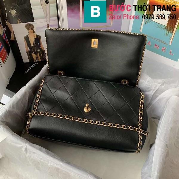 Túi đeo chéo Chanel siêu cấp da bê viền xích màu đen size 28cm - AS2396