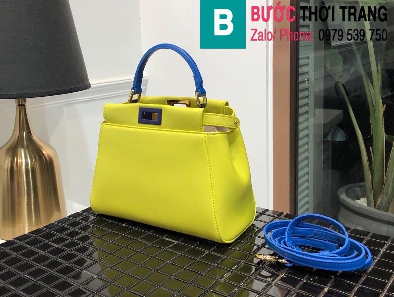 Túi xách Fendi Peekaboo iconic mini siêu cấp da nappa màu vàng size 23cm