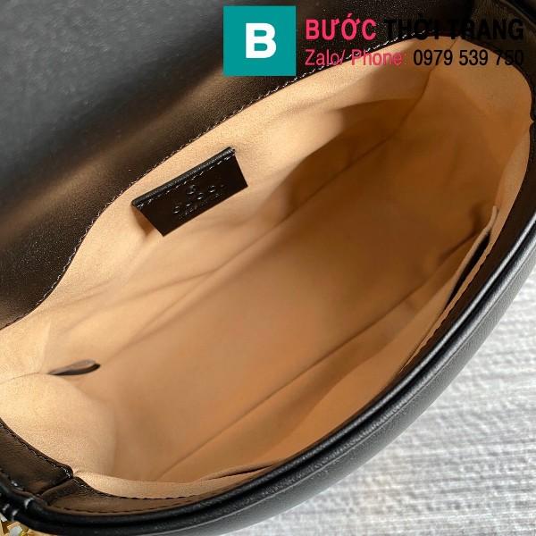 Túi xách Gucci Marmont mini top handle siêu cấp da chevron màu đen size 21cm - 547260
