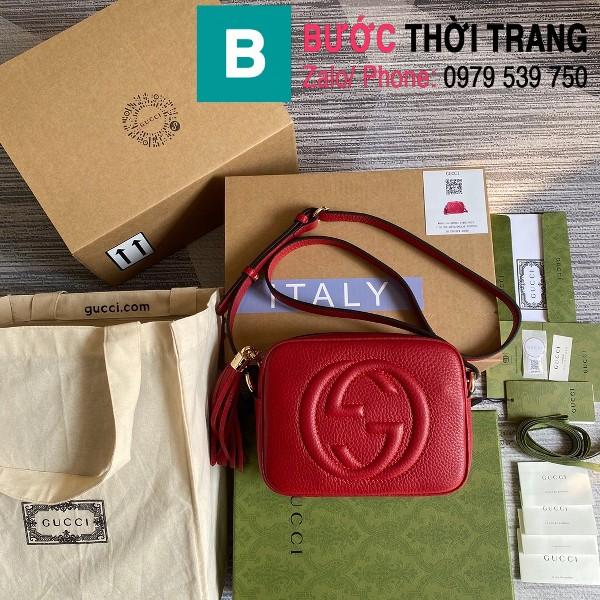 Túi xách Gucci Soho Small Leather Disco bag siêu cấp da bê màu đỏ size 22cm - 308364