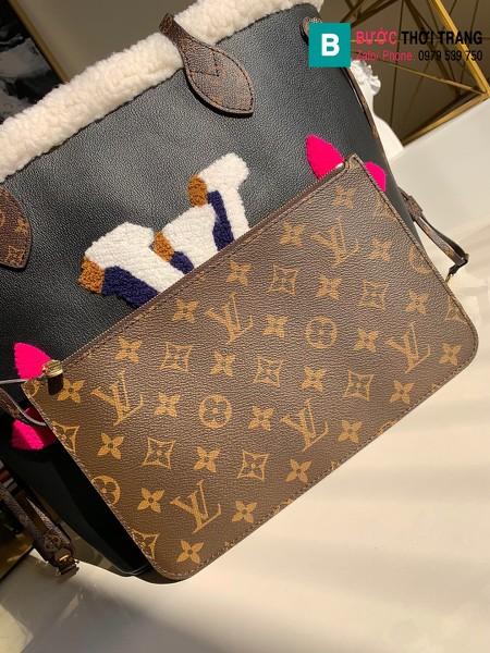 Túi xách Louis Vuitton Neverfull MM siêu cấp màu đen size 32 cm - M56960