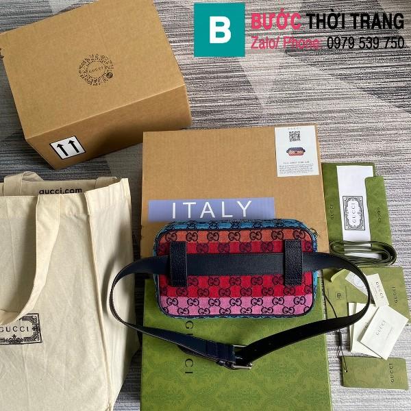 Túi xách Gucci Multicolour belt bag siêu cấp casvan màu xanh vàng đỏ size 24cm - 658657