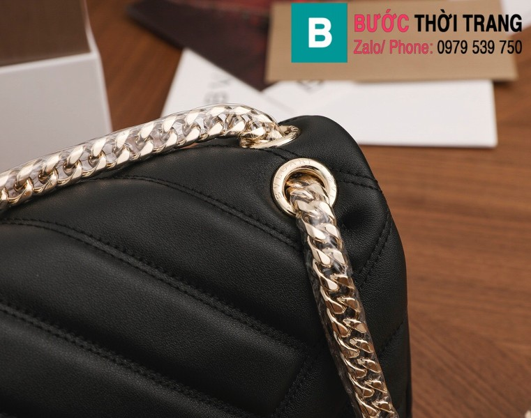 Túi xách Bvlgari Serventi Cabochon siêu cấp da bê màu đen size 22.5cm