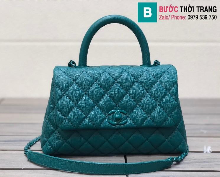 Túi xách Chanel Cocohandle Flap bag siêu cấp da bê màu ngọc lam size 23cm - 92990
