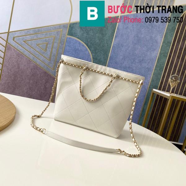 Túi xách Chanel Small Tote bag siêu cấp da bê màu trắng size 31cm - AS2374