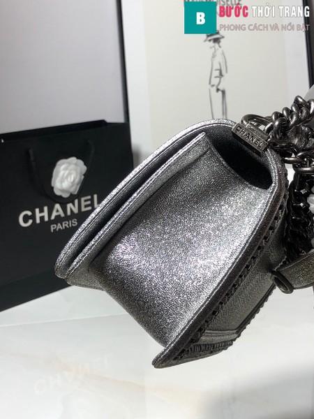 Túi xách Chanel boy siêu cấp da cá đuối màu bạc size 25 cm - A67086