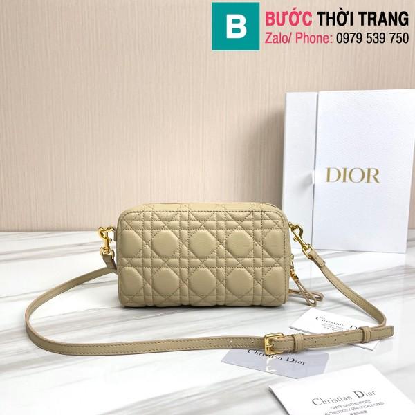 Túi xách Dior caro bag siêu cấp da bê màu xám size 19cm