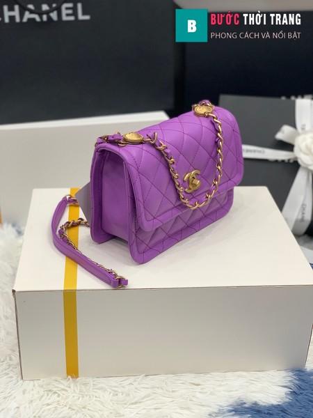 Túi xách Chanel Crossbody Bag siêu cấp màu tím size 22 cm - AS2055