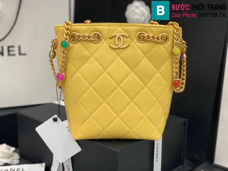 Túi xách Chanel Bag túi dây rút siêu cấp da cừu màu vàng size 19cm AS2381