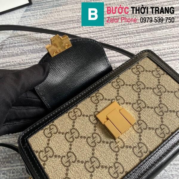 Túi xách Gucci GG mini bag with clasp closure siêu cấp viền đen size 18 cm - 614368