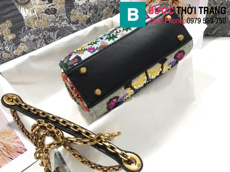 Túi xách Dior Lady siêu cấp vải thổ cẩm màu 1 size 17cm - M0598