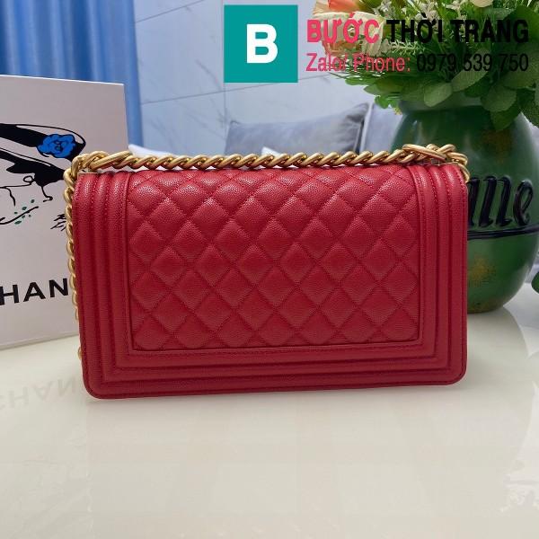 Túi xách Chanel Boy siêu cấp ô trám da bê màu đỏ size 25cm - 67086