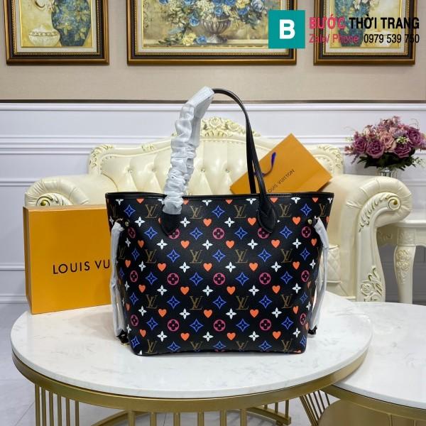 Túi xách Louis Vuitton Game on Neverfull MM siêu cấp màu đen size 31 cm - M57452