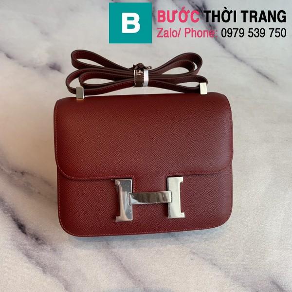 Túi xách Hermes Constance siêu cấp da epsom màu đỏ đô size 18cm