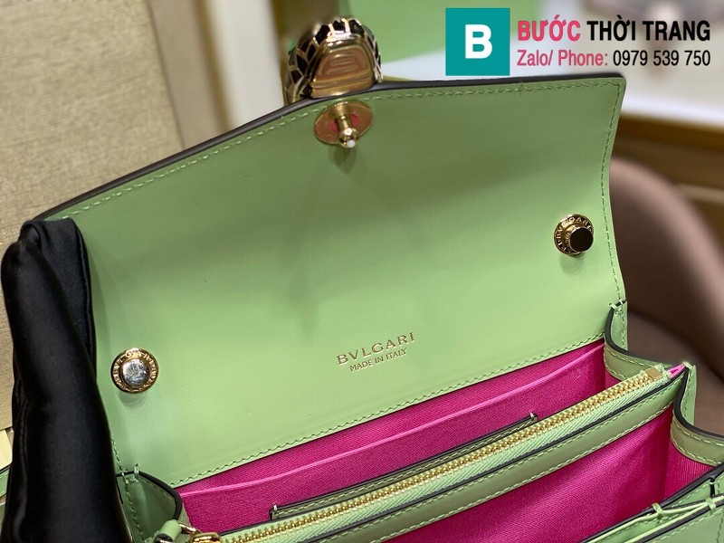 Túi xách Bvlgari Seventi forever siêu cấp da bê màu xanh size 19 cm