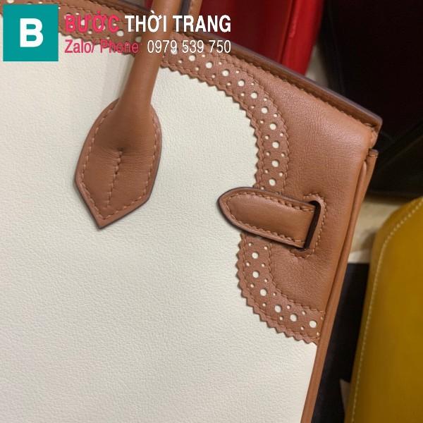 Túi xách Hermes Birkin siêu cấp da Togo màu trắng 5 size 30cm