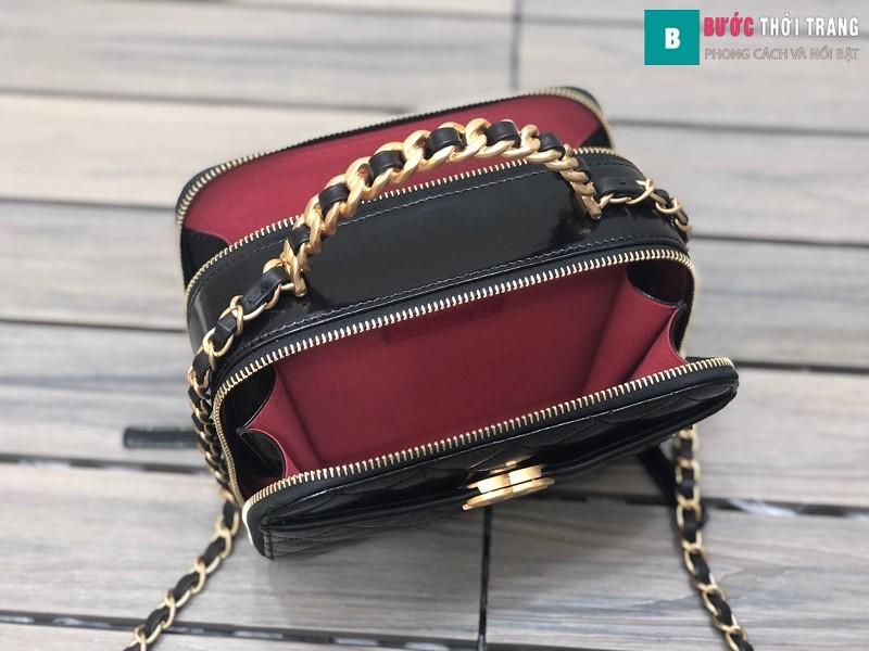 Túi xách Chanel Vanity siêu cấp màu đen da bê size 19 cm - 2179