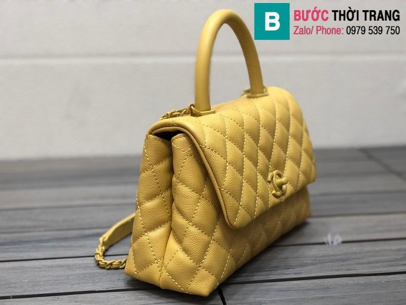 Túi xách Chanel Cocohandle Flap bag siêu cấp da bê màu vàng size 23cm - 92990
