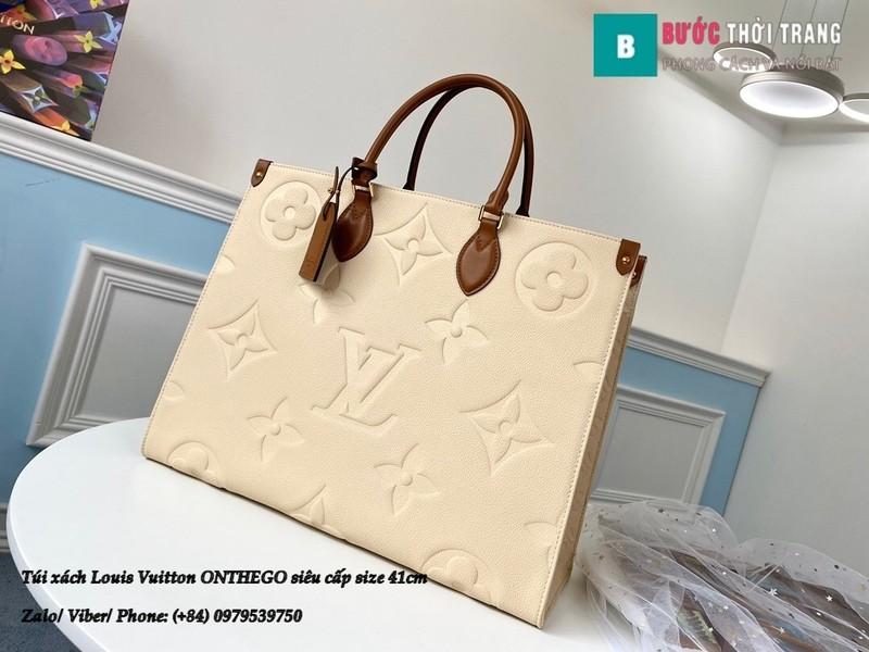Túi xách Louis Vuitton ONTHEGO siêu cấp màu kem size 41cm - M44576