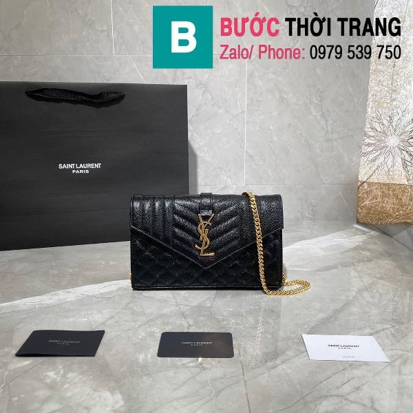 Túi ví tay cầm dây đeo YSL Saint Laurent siêu cấp da bê màu đen size 22.5cm - 620280