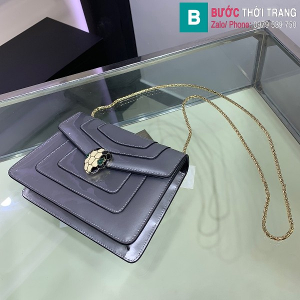 Túi xách Bvlgari serventi forever siêu cấp da bóng màu bạc size 20 cm