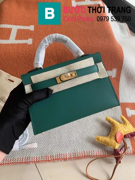 Túi xách Hermes Kelly mini siêu cấp da epsom màu xanh lá size 19.5cm