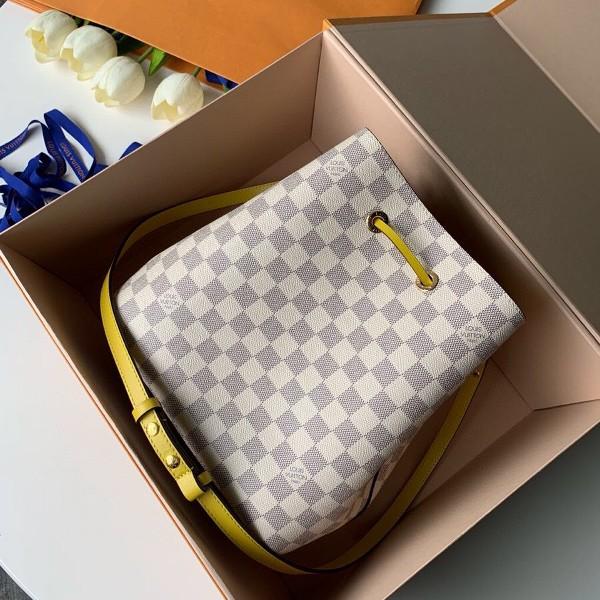 Túi xách LV Neo Noe siêu cấp họa tiết caro trắng dây vàng size 26cm - N40151