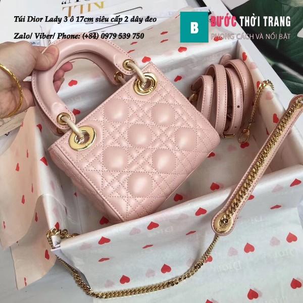 Túi Dior Lady 3 ô 17cm siêu cấp màu hồng da cừu lambskin - M44550