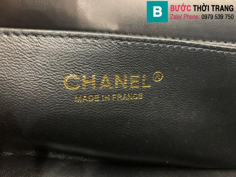 Túi xách Chanel Lambskin Classic Flap Bag siêu cấp da cừu màu đen size 23cm - AS9916