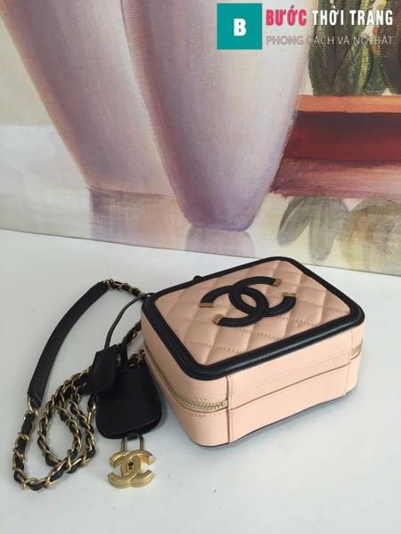 Túi xách Chanel Vanity case bag siêu cấp màu hồng size 17 cm - 93314