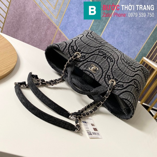 Túi xách Chanel siêu cấp vải casvan màu đen size 39cm - AS2366