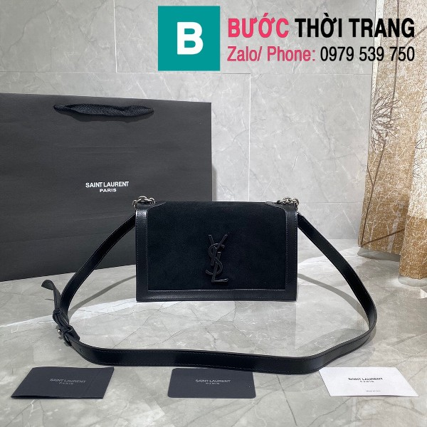 Túi đeo chéo YSL Saint Laurernt Book Bag siêu cấp da lộn màu đen size 24cm - 532756
