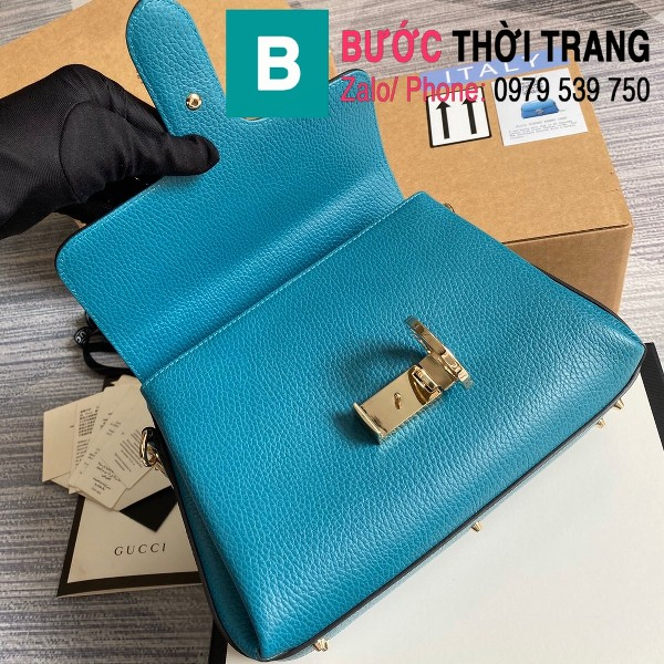 Túi xách Gucci Interlocking Leather Chain Crossbody Bag siêu cấp màu xanh size 25cm - 510302
