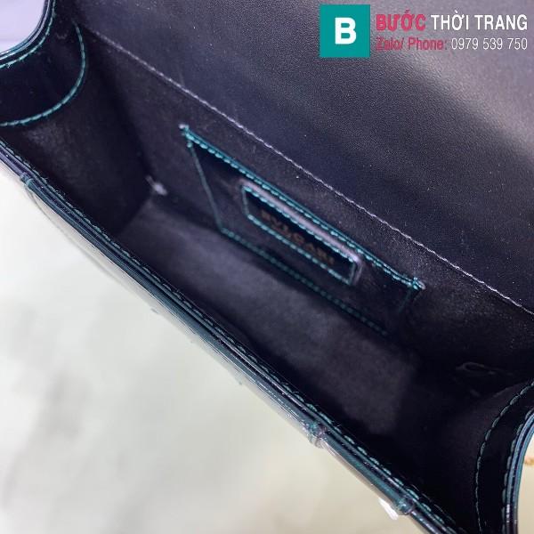 Túi xách Bvlgari serventi forever siêu cấp da bóng màu xanh đậm size 20 cm