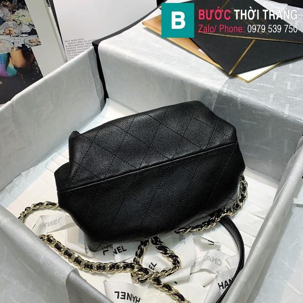 Túi xách Chanel Supple Leather Clutch with chain siêu cấp da bê màu đen size 22cm - AS2493
