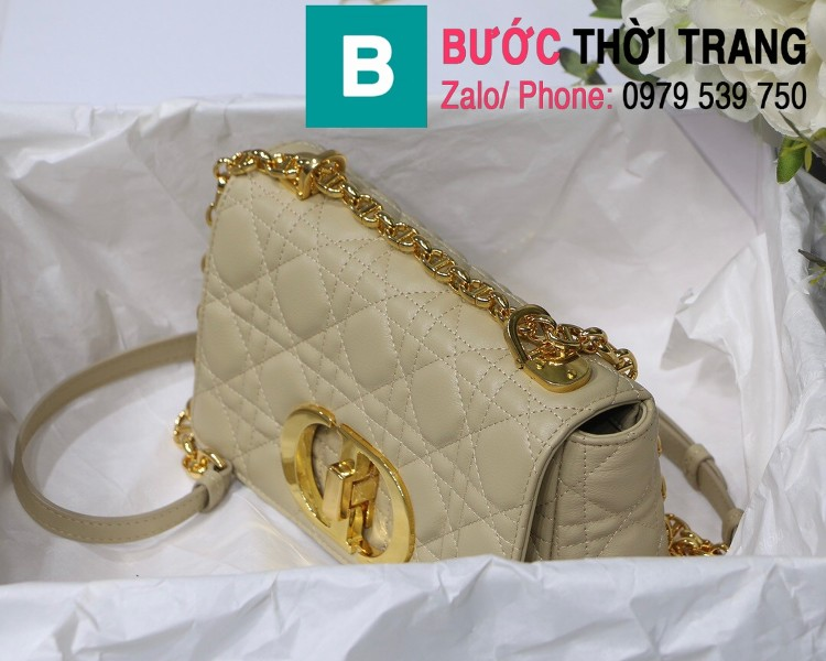 Túi xách Dior Caro siêu cấp da bò mềm màu trắng ngà size 20cm - M8016