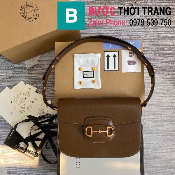 Túi xách Gucci Horsebit 1955 shoulder bag siêu cấp da bê màu nâu size 25cm - 602204