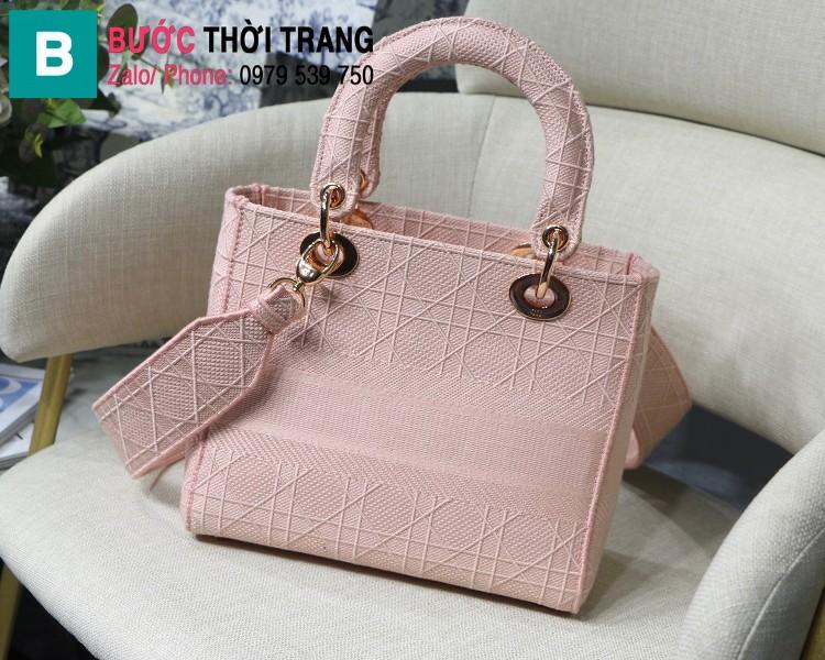 Túi xách Dior Lady D-Lite siêu cấp vải casvan màu hồng nhạt size 24cm