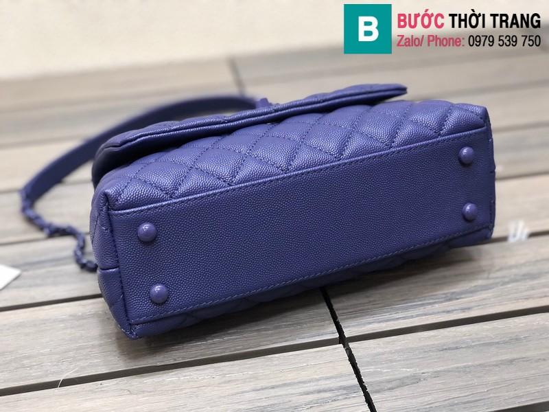 Túi xách Chanel Cocohandle Flap bag siêu cấp da bê màu xanh bích size 23cm - 92990