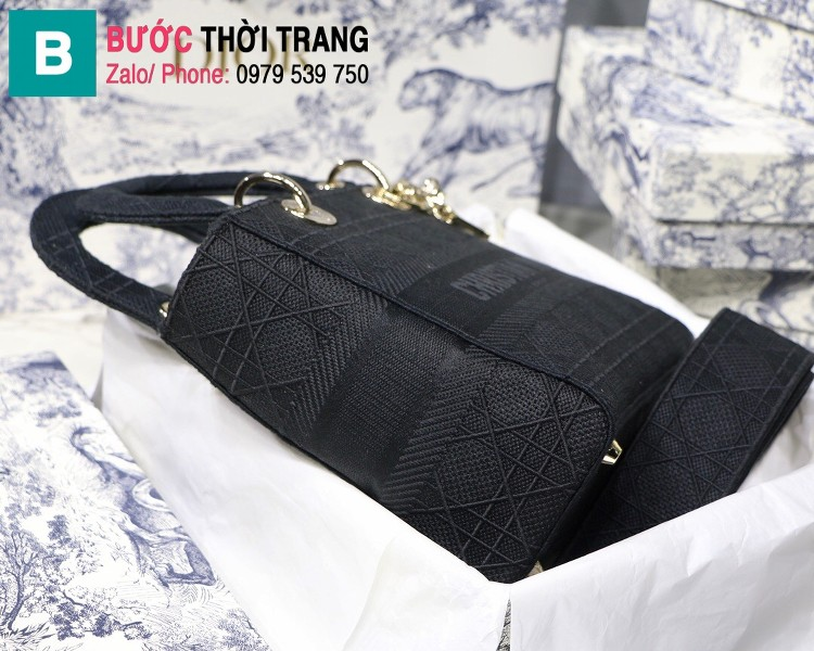 Túi xách Dior Lady D-Lite siêu cấp vải casvan màu đen size 24cm